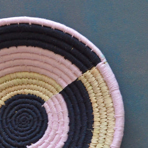 Pink and Kala Abstract Sabai Handwoven Grass Basket
