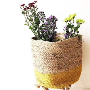 large jute planter and storage basket