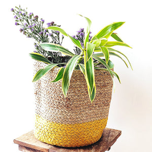 yellow large jute storage basket