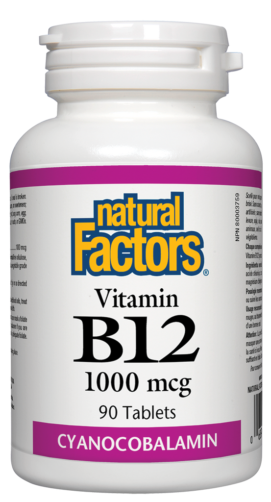 NATURAL FACTORS VITAMIN B12 1000MCG 90TABS
