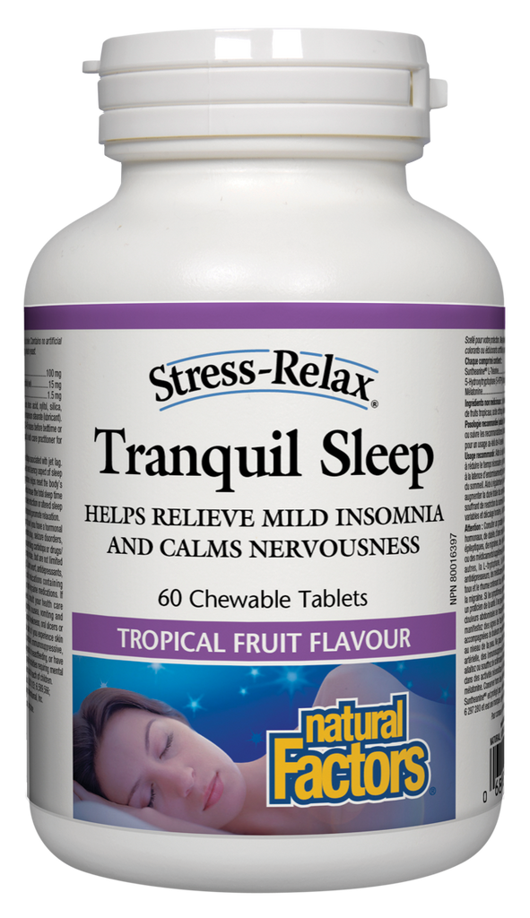 NATURAL FACTORS STRESS-RELAX TRANQUIL SLEEP TROPICAL FRUIT 60CHEW
