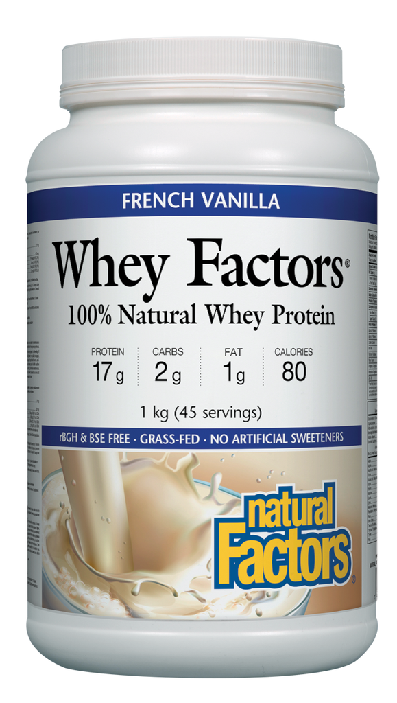 NATURAL FACTORS WHEY PROTEIN POWDER FRENCH VANILLA 1KG