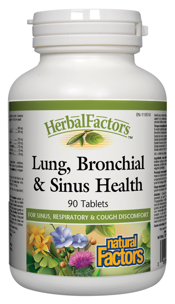 NATURAL FACTORS HERBAL FACTORS LUNG BRONCHIAL & SINUS HEALTH 90TABS