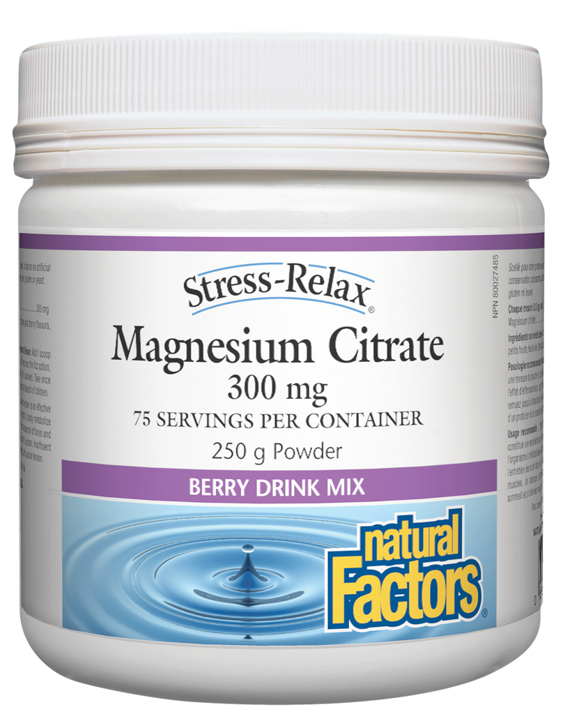 NATURAL FACTORS STRESS-RELAX MAGNESIUM CITRATE  BERRY 250G