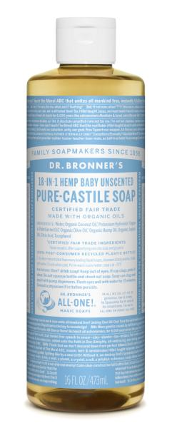 DR. BRONNER'S CASTILE SOAP BABY UNSCENTED 473ML