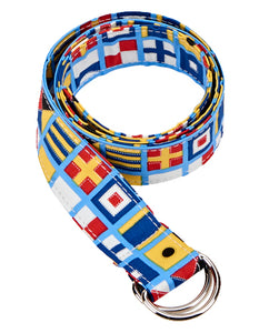 Ribbon D-Ring Belt - Nautical Flags