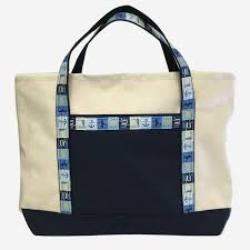 Seashore Ribbon Zipper Top Canvas Tote