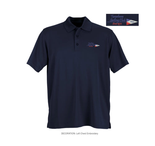 Mens Two Line Burgee Performance Polo
