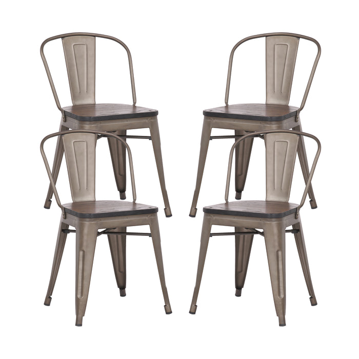 Burton Metal Dining Chair with Gunmetal Legs and Wooden Seat- Set of 4