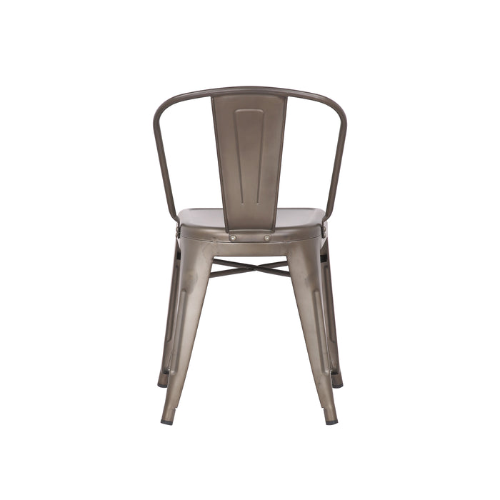 Caleb Metal Dining Chairs Tolix Style with Mid-Backrest - Gunmetal - Set of 4