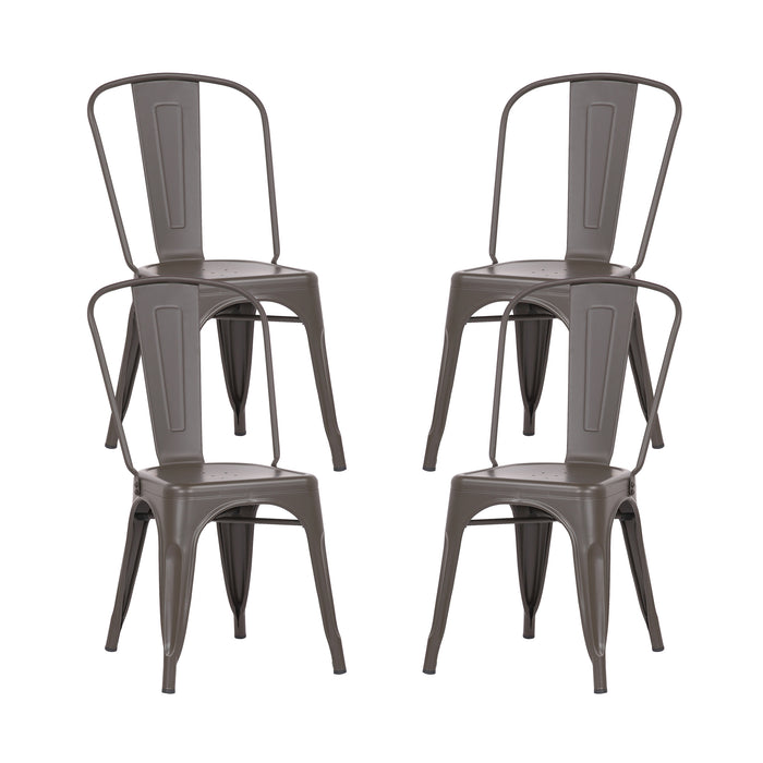 Colin Metal Dining Chairs Tolix Style with High Backrest - Antique Espresso - Set of 4