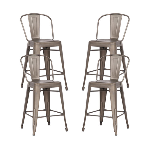 "Allison 24"" Metal Counter Stool with Mid-Backrest (Gunmetal) - Set of 4"