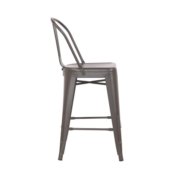 "Allison 24"" Metal Counter Stool with Mid-Backrest (Antique Espresso) - Set of 4"