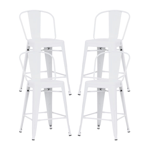 "Allison 24"" Metal Counter Stool with Mid-Backrest (Glossy White) - Set of 4"