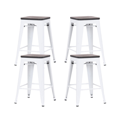 "Falcon 24"" Metal Counter Stool with Wooden Seat (Glossy White) - Set of 4"