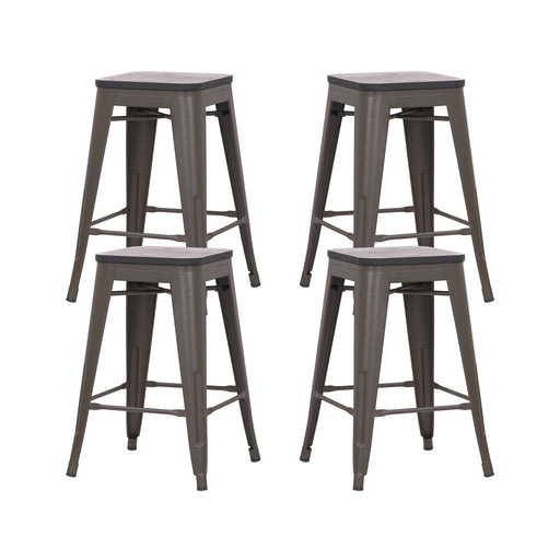 "Falcon 24"" Metal Counter Stool with Wooden Seat (Antique Espresso) - Set of 4"