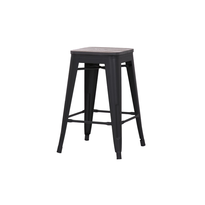 "Falcon 24"" Metal Counter Stool with Wooden Seat (Matte Black) - Set of 4"