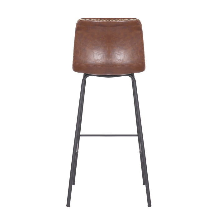 "Mathias 30"" Modern Leatherette Bar Stool with Black Metal Legs and Backrest (Brown) - Set of 4"