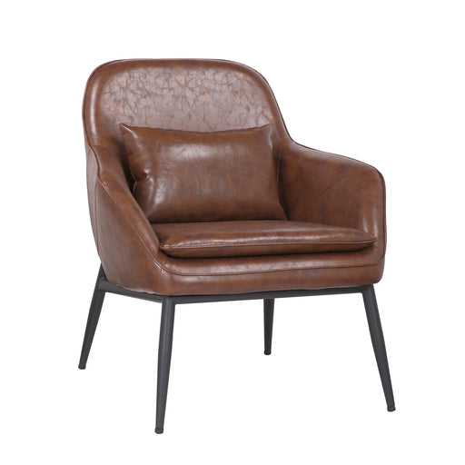 Austin Leatherette Armchair with Matte Black Metal Legs (Vintage Brown) - 1 Unit