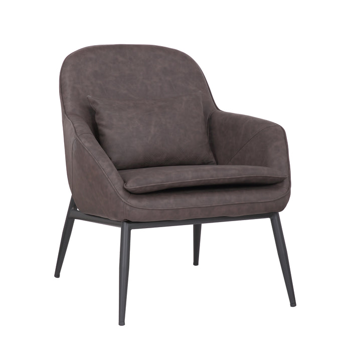 Austin Leatherette Armchair with Matte Black Metal Legs (Dark Brown) - 1 Unit