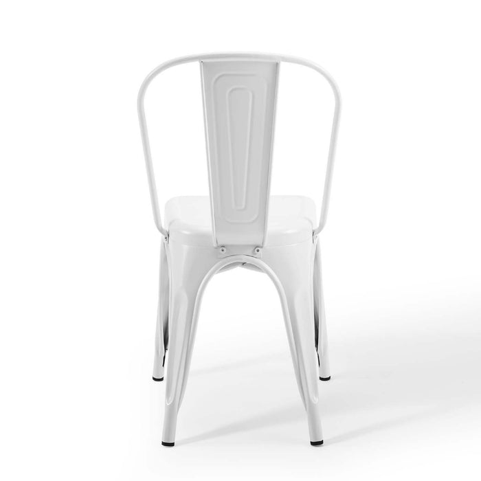 Colin Metal Dining Chairs Tolix Style with High Backrest - White - Set of 4