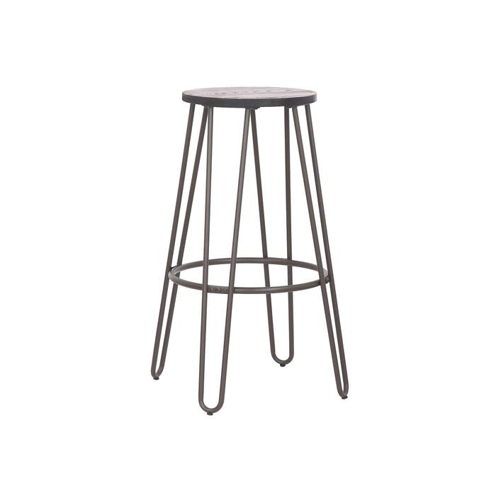 "Camila 24"" Metal Counter Stool, Backless with Wooden Seat and Antique Espresso Legs - Set of 2"
