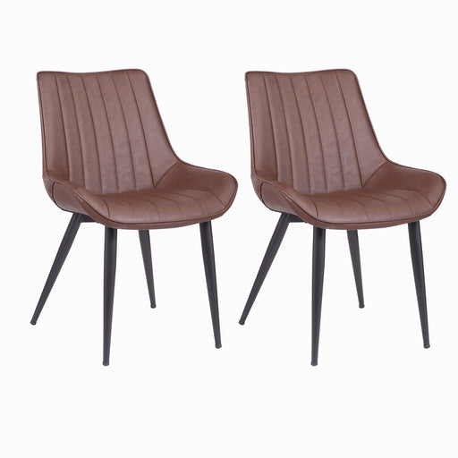 Charlotte Leatherette Chair with Mid-Backrest Dark Brown - Set of 2
