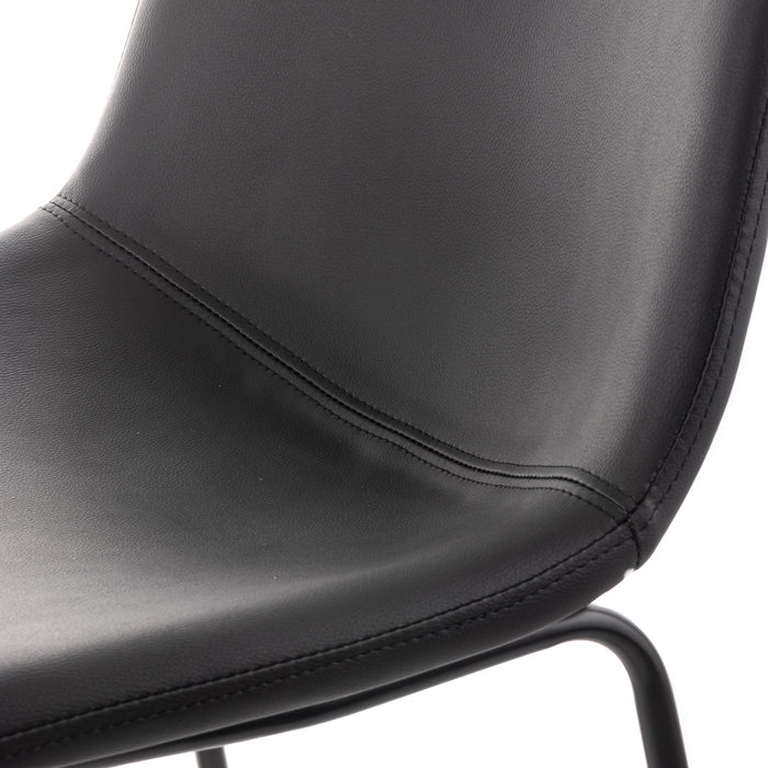 Aria Leatherette Dining Chair (Set of 2) (Black)