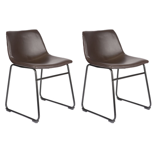 Aria Leatherette Dining Chair (Set of 2) (Dark Brown)