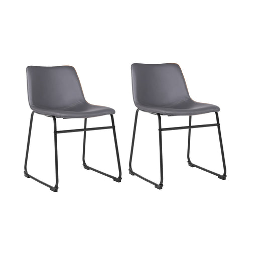 Aria Leatherette Dining Chair (Set of 2) (Gray)