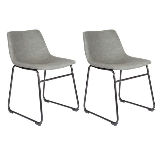 Aria Leatherette Dining Chair (Set of 2) (Light Grey)