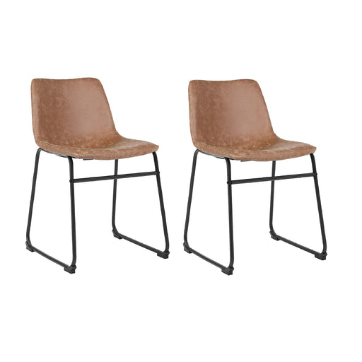 Aria Leatherette Dining Chair (Set of 2) (Light Brown)
