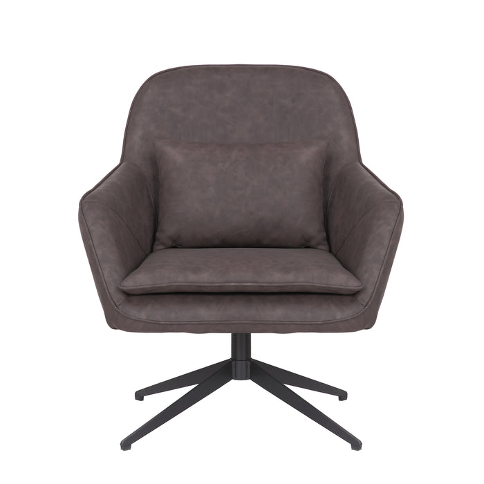 James Leatherette Armchair with Matte Black Metal Legs (Dark Brown) - 1 Unit