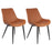 Charlotte Leatherette Chair with Mid-Backrest Caramel Brown - Set of 2