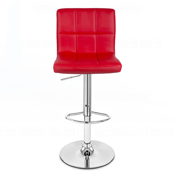 Clementine Leatherette Swivel Adjustable Height Bar Stool (Red) - Set of 2