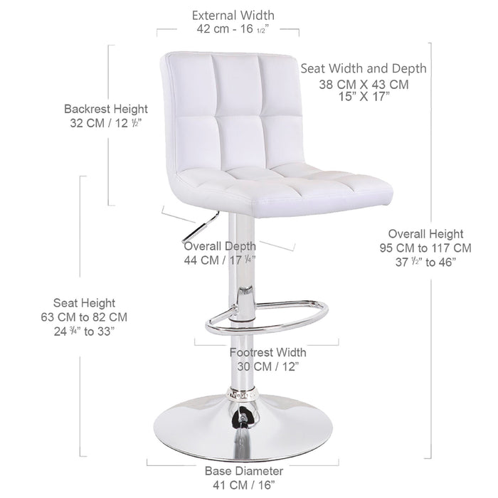 Clementine Leatherette Swivel Adjustable Height Bar Stool (White) - Set of 2