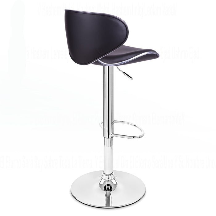 Claudia Leatherette Swivel Adjustable Height Bar Stool (Black) - Set of 2