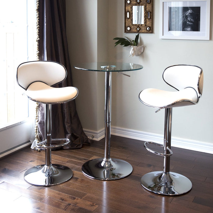Claudia Leatherette Swivel Adjustable Height Bar Stool (White) - Set of 2