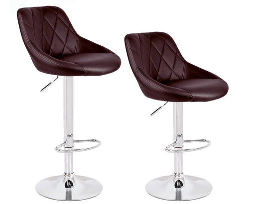 Janice Leatherette Swivel Adjustable Height Bar Stool (Brown) - Set of 2