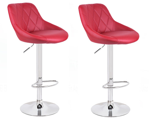 Janice Leatherette Swivel Adjustable Height Bar Stool (Deep Red) - Set of 2