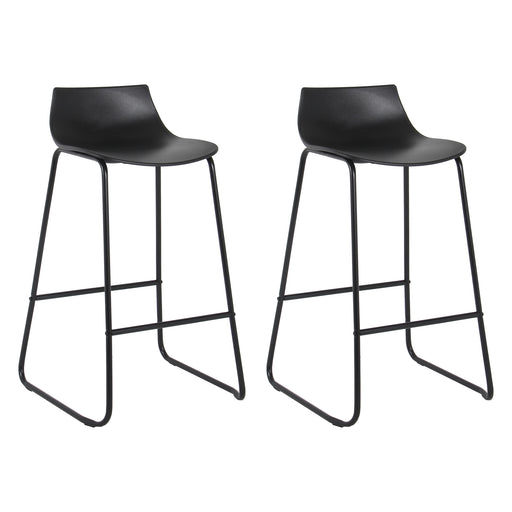 "Amelia 28"" Bar Stool with PP Seat (Black with Black Legs) - Set of 2"
