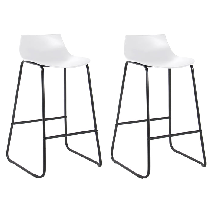 "Amelia 28"" Bar Stool with PP Seat (White with Black Legs) - Set of 2"