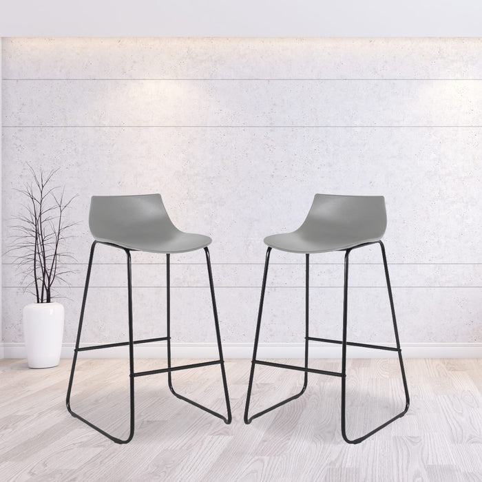 "Amelia 28"" Bar Stool with PP Seat (Gray with Black Legs) - Set of 2"