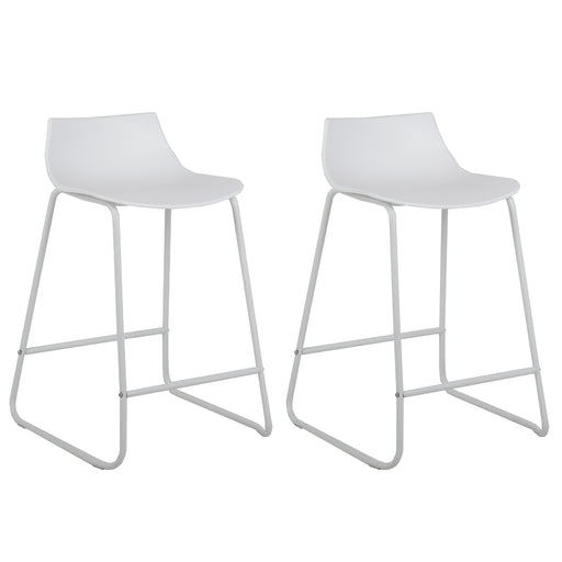 "Amelia 24"" Counter Stool (White with White Legs) - Set of 2"
