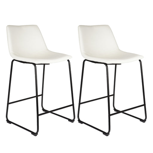 "Cleo Leatherette 26"" Counter Stool with Mid-Backrest (White) - Set of 2"