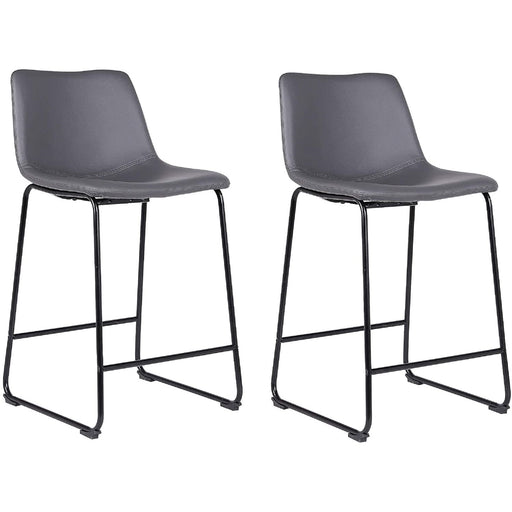 "Cleo Leatherette 26"" Counter Stool with Mid-Backrest (Gray) - Set of 2"