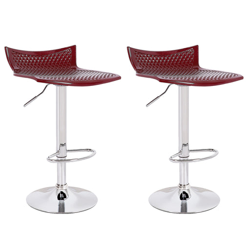 Megan Swivel Adjustable Height ABS Bar Stool - Burgundy - Set of 2