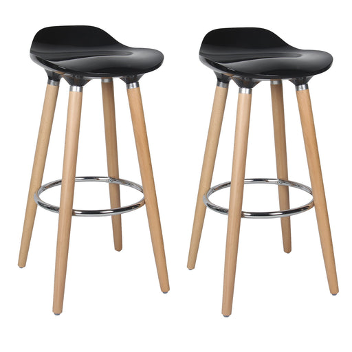 "Vienna 30"" Black ABS Bar Stool with Natural Wooden Legs - Set of 2"