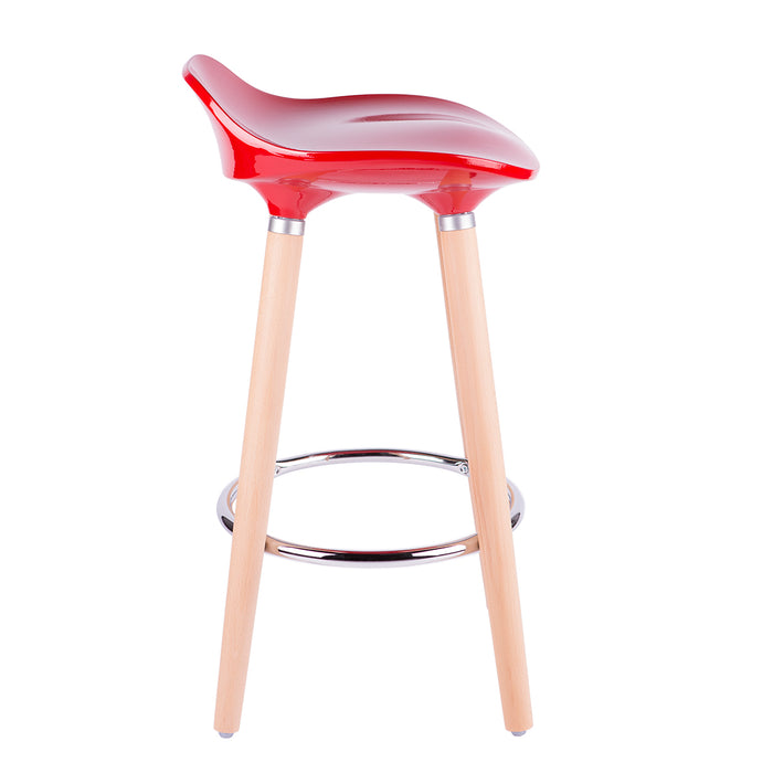 "Vienna 26"" Red ABS Counter Stool with Natural Wooden Legs - Set of 2"