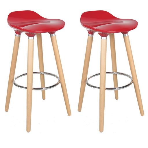 "Vienna 30"" Red ABS Bar Stool with Natural Wooden Legs - Set of 2"